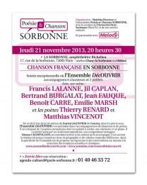 Chanson en Sorbonne – 21 novembre 2013 – La Sorbonne, Paris