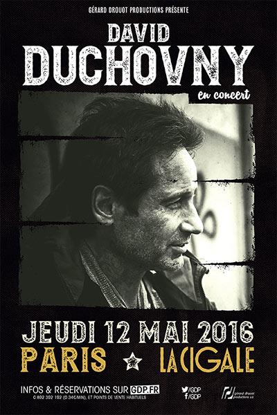 Affiche David Duchovny en concert le 12 mai 2016 à la Cigale (Paris)