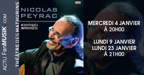 Nicolas Peyrac en concert les 4, 9 et 23 janvier au Théâtre Mathurins à Paris
