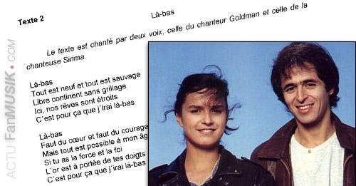 Là-Bas, le duo Sirima & Jean-Jacques Goldman au Bac de Français 2013 !