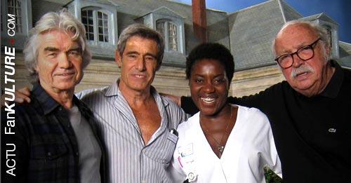 "Daniel Guichard en plein tournage du film ""Bon rétablissement"" de Jean Becker"
